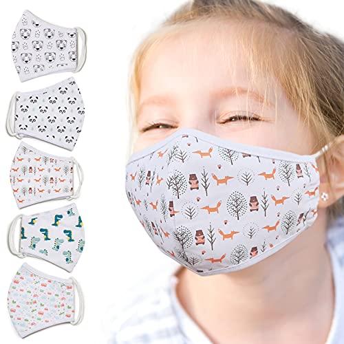 Jago® Kinder Stoffmaske - 5 Stück, Waschbar...